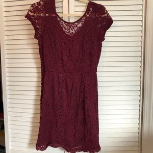 Burgundy Lace a Dress